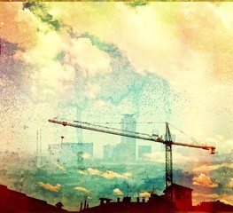 Grunge multicolor city skyline with crane