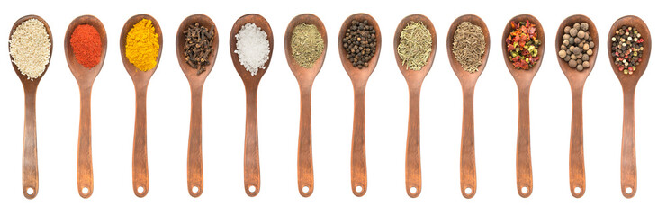 Set of spoons with different spices