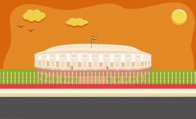 Parliament House India Clip-art Style- on Republic Day