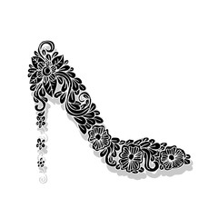 Shoes on a high heel decorated with floral.