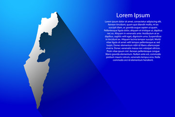Abstract map of Israel with long shadow on blue background of vector illustration