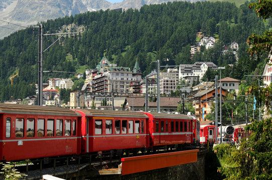 Red Train Bernina Express Arrive at St. Moritz, Switzerland.