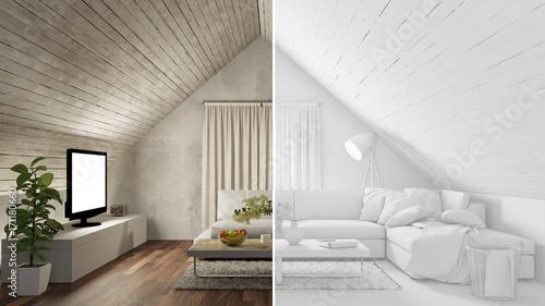 Dachboden wohnzimmer im raumplaner stockfotos und - Raumplaner wohnzimmer ...