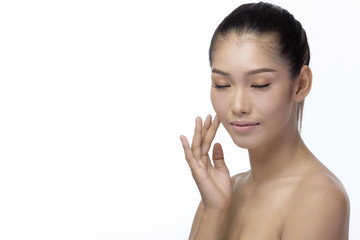 Asian young beautiful woman woman with flawless skin and perfect make-up