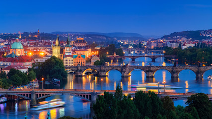 Fotobehang Oost Europa Vltava river in Prague, Czech Republic at the dusk