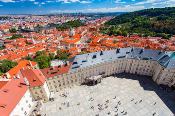 Aerial view to Prague at summer daytime