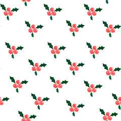 Holly berry watercolor painting, Christmas seamless pattern on white background
