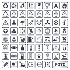 Packaging symbols set, cargo icons, vector illustration