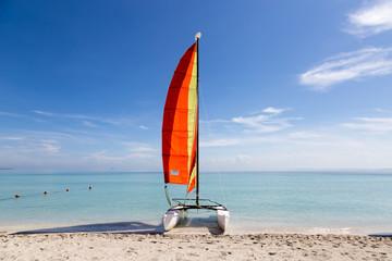 Catamaran on a tropical white beach
