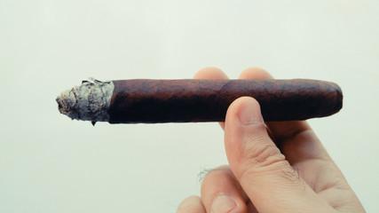 Man hand holding cigar