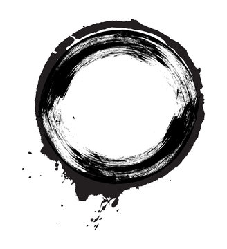 Grunge Brush Stroke Circle Vector
