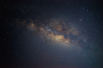 Clear Milkyway Galaxy, Long exposure photograph, with grain in summer night at northen of Thailand