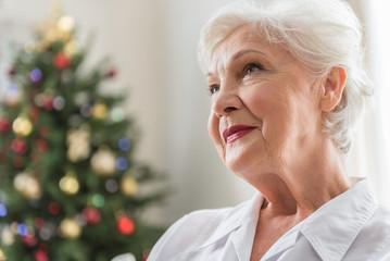 Elegant aged lady is having melancholy thoughts