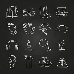 Personal protective equipment thin line icons on chalkboard design