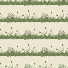 Vintage grass and bushes silhouettes horizontal seamless patterns