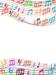 Musical background with colorful music notes and waves
