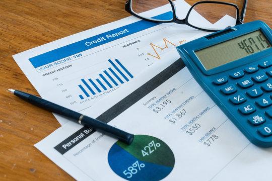 Credit Score Report on Desk