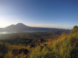 Mount Batur, an active volcano in Bali, Indonesia