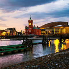 Waterfront at night in Cardiff, UK