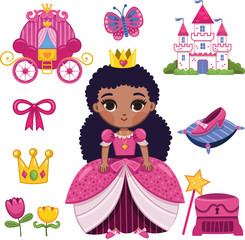 African Princess Sticker Set (Vector illustration)