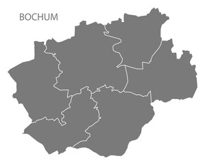 Bochum city map with boroughs grey illustration silhouette shape