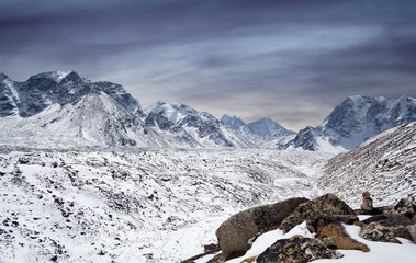 Khumbu glacier and mountain landscape in Sagarmatha National Park, Everest region, Nepal, Himalayas