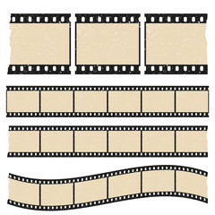 Vector retro worn torn film strips - waveform and straight strip. Insulated windows - you can create variable long straight filmstrip. Eps 10 vector file.