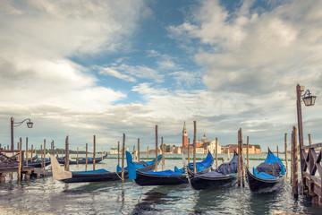 Pier with gondolas near Saint Mark`s Square in Venice
