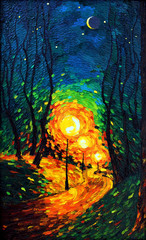 lights the evening Moon oil painting