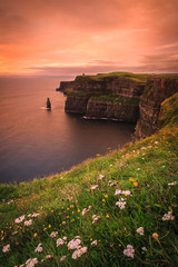 Deurstickers Koraal Cliffs of Moher at dusk - Clare, Ireland