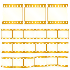 Vector worn torn film strips - waveform and straight strip. Insulated windows - you can create variable long straight filmstrip. Eps 10 vector file.