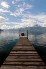 Small Rowing Boat Moored on Lake Geneva in Switzerland