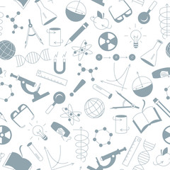 Seamless pattern on the theme of science and inventions, diagrams, charts, and equipment, a grey silhouettes of icons on white background