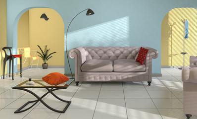 Intérieur maison décoration salon et séjour style méridional