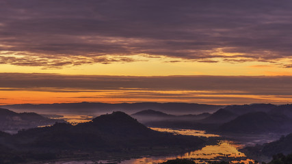 Beautiful sunrise over the river with mountian