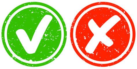 Retro Haken grün und Kreuz rot