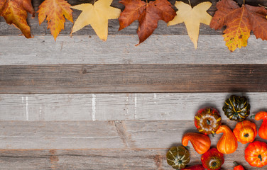 Autumn leaves, pumpkins on old wooden background with copy space