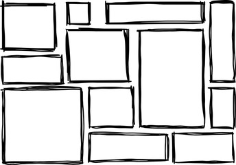 Set of rectangular frames doodles