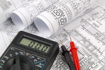electrical engineering drawings and digital multimeter