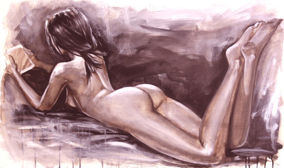 Naked girl laying and reading the tablet, original painting, tempera on canvas, in warm sepia tones