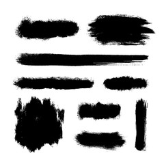 Brush strokes set, black hand paint streaks, vector illustration
