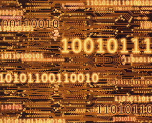 Different sized binary code numbers on orange circuit board background