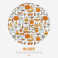 Cartoon Halloween concept in circle with thin line icons: vampire, bat, pumpkin. Vector illustration for invitation card, party announcement.