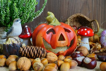 Decoration for Halloween - - seasonal and holidays concept - soft focus