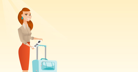 Happy business class passenger standing near suitcase and holding priority luggage tag. Young caucasian business woman showing travel insurance tag. Vector cartoon illustration. Horizontal layout.