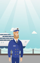 Caucasian ship captain standing on the background of sea and cruise ship. Young smiling ship captain in uniform standing on the seacoast background. Vector cartoon illustration. Vertical layout.
