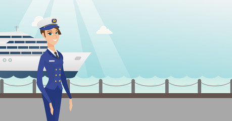 Caucasian female ship captain standing on the background of sea and cruise ship. Young ship captain in uniform standing on the seacoast background. Vector cartoon illustration. Horizontal layout.