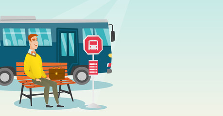 Caucasian businessman with briefcase waiting for a bus at the bus stop. Young businessman sitting at the bus stop. Happy man sitting on a bus stop bench. Vector cartoon illustration. Horizontal layout