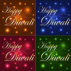 Happy Diwali. Light background, neon effect. The inscription on a blue, brown, red, emerald background. Stars, lights