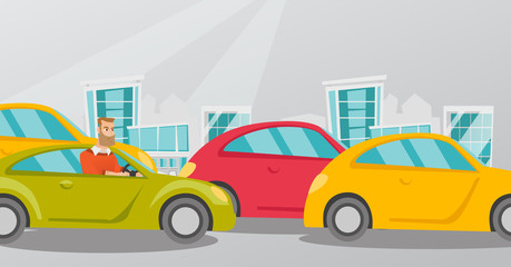 Angry caucasian man in a car stuck in a traffic jam. Irritated young hipster man driving a car in traffic jam. Agressive driver honking in a traffic jam. Vector cartoon illustration. Horizontal layout